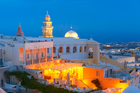 blue hour: St. Gerasimos Christian Church of Fira, modern capital of the Greek Aegean island, Santorini, during twilight blue hour, Greece Stock Photo