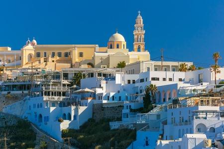 St. Gerasimos Christian Church of Fira, modern capital of the Greek Aegean island, Santorini, in the sunny summer morning, Greece