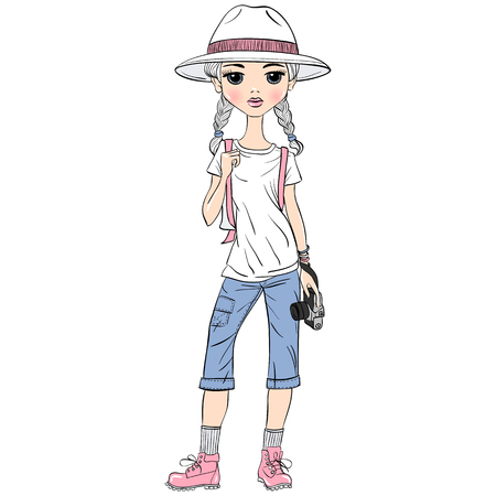 voyager: Lovely fashion girl traveler in white hat with photo camera in sketch-style.