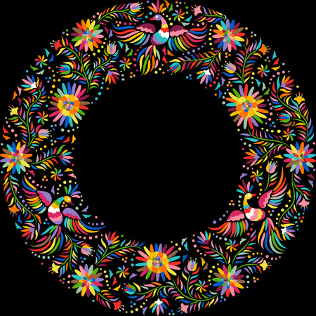 mexicans: Mexican embroidery round pattern. Colorful and ornate ethnic frame pattern. Birds and flowers on the black background. Illustration