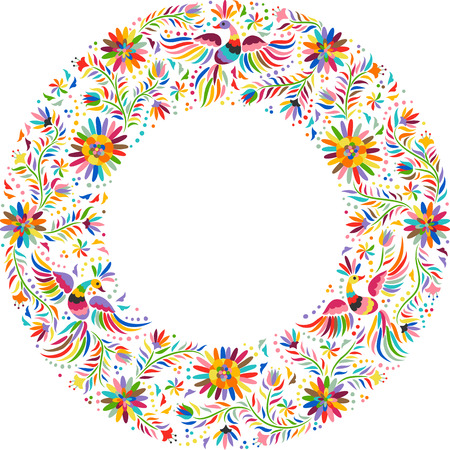Mexican embroidery round pattern. Colorful and ornate ethnic frame pattern. Birds and flowers on the light background.