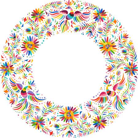 Mexican okrągły wzór haftu. Kolorowe i etnicznych ozdobny wzór ramki. Ptaki i kwiaty na jasnym tle. Ilustracje wektorowe