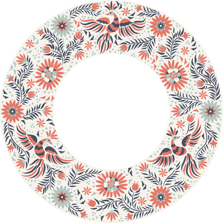 Mexican embroidery round pattern. Colorful and ornate ethnic frame pattern. Red and gray Birds and flowers on the light background.