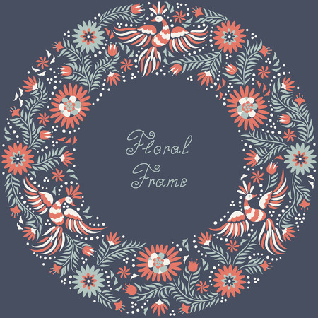round collar: Mexican embroidery round pattern. Colorful and ornate ethnic frame pattern. Red and gray Birds and flowers on the dark background.