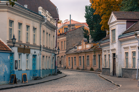 without window: Medieval houses on Uus street in the cloudy day, Tallinn, Estonia