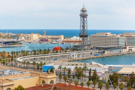 rambla: Aerial view of Transbordador Aeri del Port or Port cable car and Rambla de Mar in Barcelona, Catalonia, Spain Stock Photo