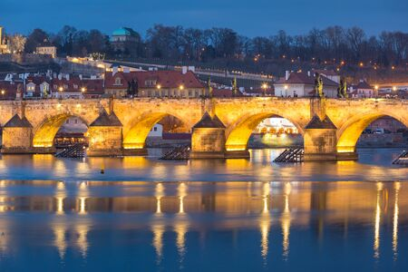 blue hour: Charles Bridge during twilight blue hour in Prague, Czech Republic Stock Photo