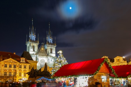 old town square: Old Town Square with Christmas market, tree and fairy tale Church of our Lady Tyn in the magical city of Prague at night, Czech Republic