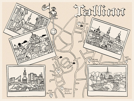 old town: Travel book with the most popular types of the Medieval Old Town in sketch style, Tallinn, Estonia