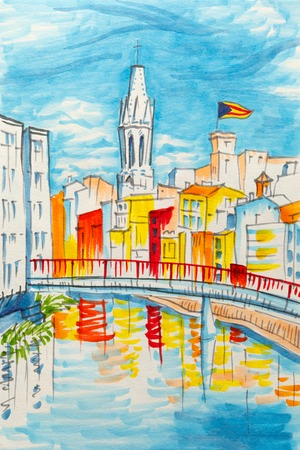 pont: Church of Sant Feliu, colorful yellow and orange houses and bridge Pont de Sant Agusti reflected in water river Onyar, in Girona, Catalonia, Spain. Picture made markers