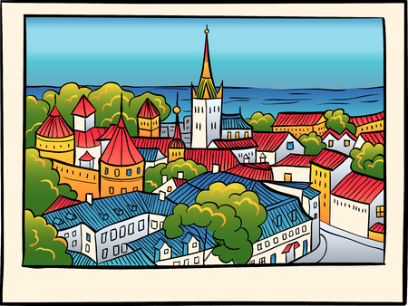 baptist: Medieval Old Town, St. Olaf Baptist Church and Tallinn City Wall in sketch style, Tallinn, Estonia