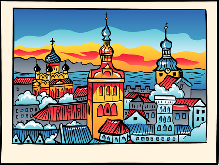 saint nicholas: Medieval Old Town illuminated with Saint Nicholas Church, Cathedral Church of Saint Mary and Alexander Nevsky Cathedral at sunset in sketch style, Tallinn, Estonia Illustration