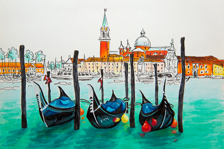 Gondolas moored by Saint Mark square with San Giorgio di Maggiore church in the background in Venice lagoon, Italia. Picture made markers Reklamní fotografie