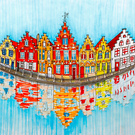 canal: Scenic city view of Bruges canal with beautiful medieval houses, Belgium. Picture made markers Stock Photo