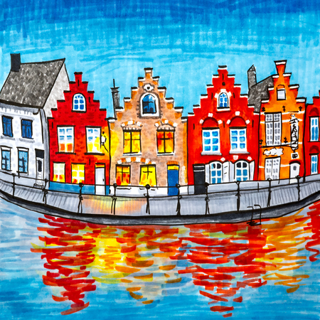 gables: Scenic city view of Bruges canal with beautiful medieval houses, Belgium. Picture made markers Stock Photo