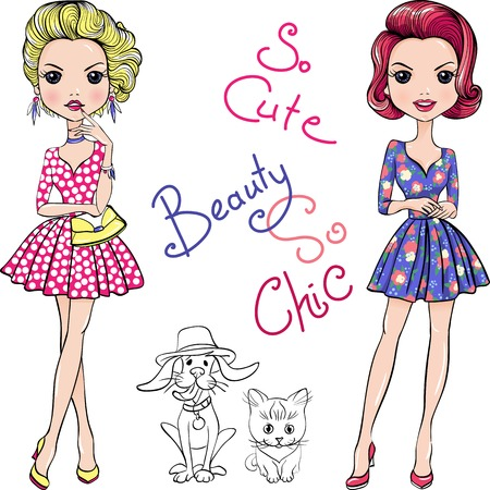tomcat: Cute beautiful Pop Art girls in dresses with dog and cat.