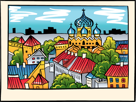 alexander nevsky: Toompea hill with fortress wall, tower and Russian Orthodox Alexander Nevsky Cathedral, view from the tower of St. Olaf church, in sketch style, Tallinn, Estonia