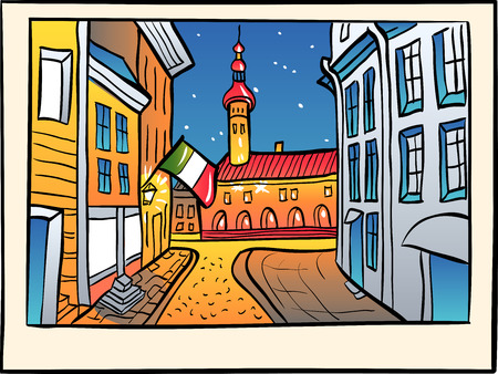 old town: Picturesque view of Town Hall in Medieval Old Town, in sketch style, Tallinn, Estonia Illustration