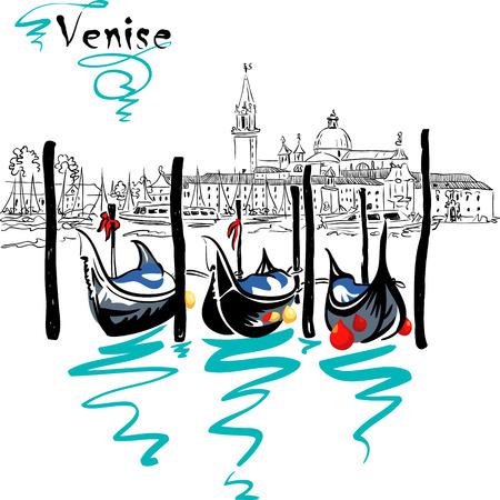 lagoon: Gondolas moored by Saint Mark square with San Giorgio di Maggiore church in the background in Venice lagoon, Italia. Picture made markers Illustration