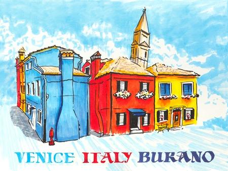 case colorate: Case colorate e la chiesa sulla famosa isola di Burano, Venezia, Italia. marcatori immagine Fatto