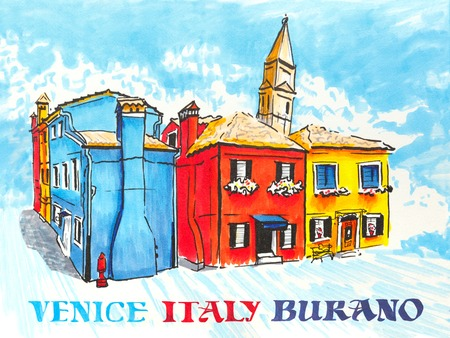 venice italy: Colorful houses and church on the famous island Burano, Venice, Italy. Picture made markers