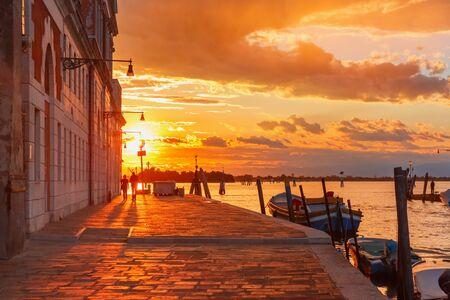 grandiose: Grandiose sunset on the canal Cannaregio in Venice, Italy Stock Photo