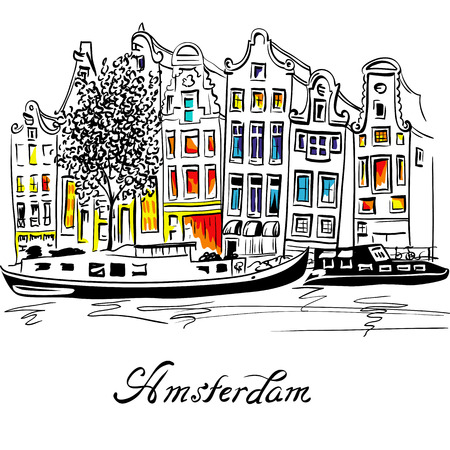 Vista a la ciudad de los canales de Ámsterdam, casas típicas holandesas y barcos, Holanda, Países Bajos. Ilustración de vector