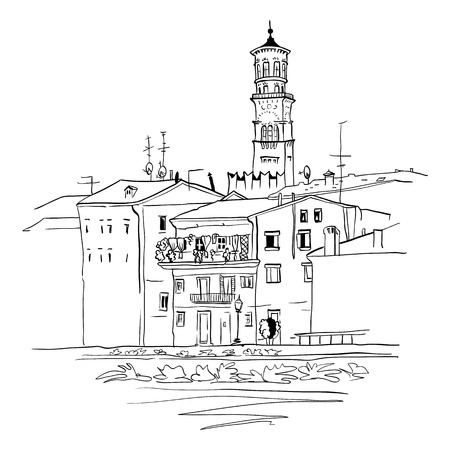 picturesque: Adige River Embankment and Tower Lamberti at night illumination, Verona, Italy Illustration
