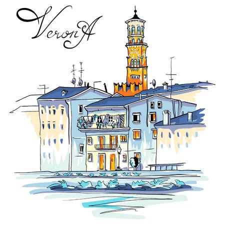 canal street: Vector Adige River Embankment and Tower Lamberti, Verona, Italy
