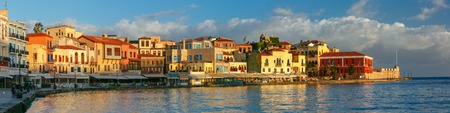panoramic view: Picturesque panoramic view of old harbour, Firkas Fortress and Venetian quay of Chania in the morning, Crete, Greece