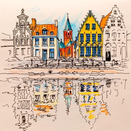 Scenic uitzicht op de stad Brugge gracht met prachtige middeleeuwse huizen, België. Foto gemaakt markers