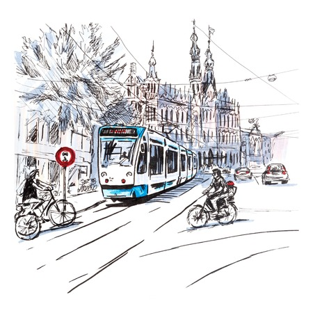 scenics: City view of typical Amsterdam street with cyclists and tram, Holland, Netherlands.