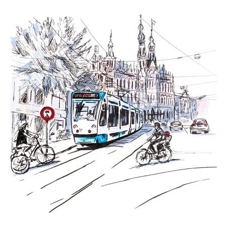 Uitzicht op de stad van de typisch Amsterdamse straat met fietsers en tram, Holland, Nederland.