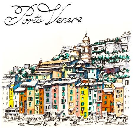 Colorful picturesque harbour of Porto Venere, San Lorenzo church and Doria Castle on the background, La Spezia, Liguria, Italy. Picture made markers