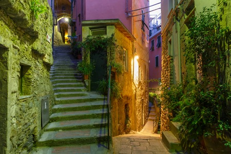 fishing village: Narrow dark alley and stairway in the old town - typical Italian charming street decoration with plants and flowers at night in fishing village Vernazza, Five lands, Cinque Terre National Park, Liguria, Italy.