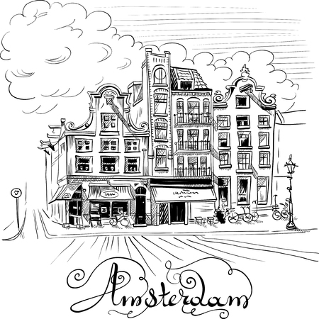 dutch landmark: Black and white hand drawing, city view of Amsterdam typical houses, Holland, Netherlands.