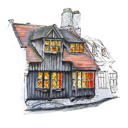 brick house: Scenic city view of Bruges with beautiful medieval houses, Belgium. Picture made liner and markers. Stock Photo
