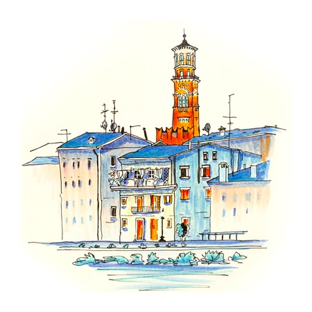 Adige River Embankment and Tower Lamberti, Verona, Italy. Picture made markers