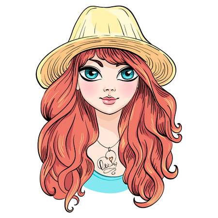 vector girl: Vector beautiful fashionable girl in hat with long red curly hair