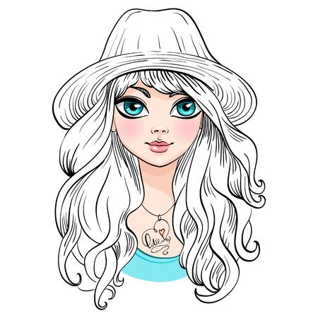 cabello rizado: Vector hermosa chica de moda en el sombrero con el pelo rizado largo