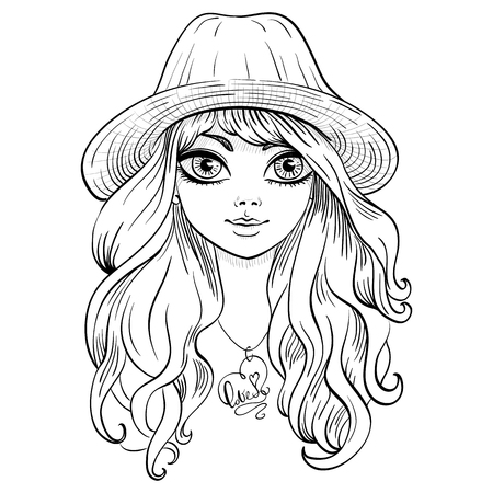 longhaired: Vector beautiful fashionable girl in hat with long curly hair