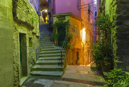 italian village: Narrow dark alley and stairway in the old town - typical Italian charming street decoration with plants and flowers at night in fishing village Vernazza, Five lands, Cinque Terre National Park, Liguria, Italy.