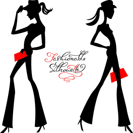 modish: Black silhouette of fashion girls top models in hats and pants with calligraphic inscription Illustration