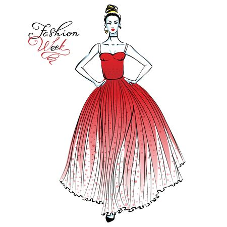 modish: Vector beautiful fashionable girl in a long red dress with pattern polka dots and inscription Fashion Week Illustration