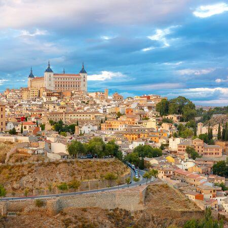 Old city of Toledo with Alcazar at sunset, Castilla La Mancha, Spain