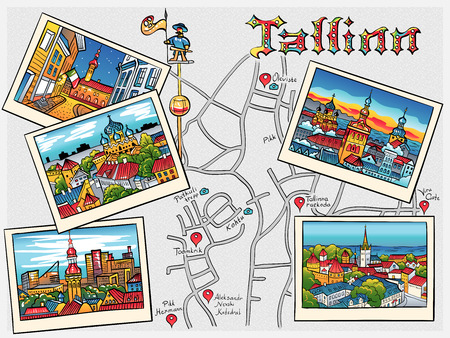 old houses: Color Travel book with the most popular types of the Medieval Old Town in sketch style, Tallinn, Estonia Illustration