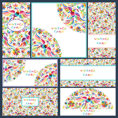 Vector set of artistic creative business cards with Floral Mexican embroidery pattern and ornaments. Hand Drawn textures. Applicable for wedding, anniversary, birthday, Valentine day, party. Design for covers, banner, poster, card, invitation, placard, fl Illustration