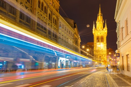 electric avenue: Luminous track from the tram near Jindrisska Tower in Old Town of Prague, Czech Republic