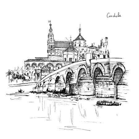 Gran Mezquita - Catedral de Córdoba y Puente romano sobre el río Guadalquivir, Córdoba, Andalucía, España Foto de archivo - 66328446
