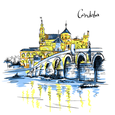 Vector color Great Mosque Mezquita - Catedral de Cordoba and Roman bridge across Guadalquivir river, Cordoba, Andalusia, Spain Illustration